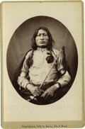 """Western Expansion:Indian Artifacts, Cabinet Card Photograph Native American Indian """"One Bull,"""" 1882. ..."""