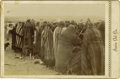 """Western Expansion:Indian Artifacts, Cabinet Card photograph """"Comanche Indians"""" Receiving Rations on Reservation ca 1890...."""