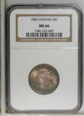 Coins of Hawaii: , 1883 25C Hawaii Quarter MS66 NGC. NGC Census: (96/10). PCGSPopulation (69/9). Mintage: 500,000. (#10987)...