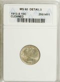 Barber Dimes: , 1913-S 10C --Cleaned--ANACS. MS60 Details. A couple of stray ticksappear on Liberty's cheek and neck, but this coin shows s...
