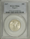 1917 25C Type One MS66 PCGS. The more plentiful Philadelphia issue of this brief, two-year type. Well struck with intens...