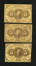 Fractional Currency:First Issue, Fr. 1230 5¢ First Issue Three Examples Fine+.... (Total: 3 notes)