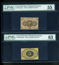 Fractional Currency:First Issue, Fr. 1231SP 5c First Issue Narrow Margin Pair PMG About Uncirculated 55/ Choice Uncirculated 63.... (Total: 2 notes)