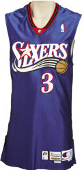 Basketball Collectibles:Uniforms, 2000-01 Allen Iverson Game Worn Jersey. Road blue Philadelphia76'ers gamer dates to The Answer's incredible MVP season, on...