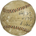 "Autographs:Baseballs, 1927 Babe Ruth & Lou Gehrig Signed ""Stat"" Baseball. We've neverseen anything quite like the offered sphere, and we don't e..."