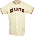 "Baseball Collectibles:Uniforms, 1956 Jim Hearn Game Worn Uniform. Less than a week after BobbyThomson hit his ""Shot Heard 'round the World,"" Hearn earned ..."