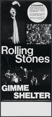 """Gimme Shelter (20th Century Fox, 1970). Swedish Poster (12"""" X 27.5""""). Rock and Roll"""