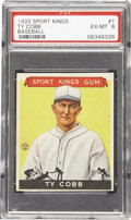 Baseball Cards:Singles (1930-1939), 1933 Sport Kings Gum Ty Cobb #1 PSA EX-MT 6. Topping even Babe Ruth for the number one spot (the Bambino was card number tw...