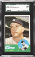 Baseball Cards:Singles (1960-1969), 1963 Topps Mickey Mantle SGC 86 NM+ 7.5. Offered is a 1963 ToppsMantle with intense, bold colors that delight the senses. ...