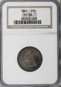 Proof Seated Quarters: , 1864 25C PR64 NGC. NGC Census: (57/27). PCGS Population (48/16).Mintage: 470. Numismedia Wsl. Price for NGC/PCGS coin in P...