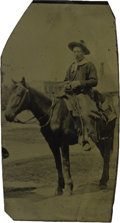 Western Expansion:Cowboy, Sixth Plate Tintype Photograph of Cowboy Holding Pistol on Horse,ca. 1870s....