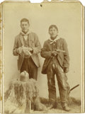 Western Expansion:Indian Artifacts, Cabinet Card Photograph of Two Armed Indians in Cowboy Outfits, ca.1890s....
