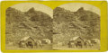 Western Expansion:Cowboy, Stereoview of Pony Express Stop Hanging Rock-Weber Station, UtahTerritory ca 1860s. ...