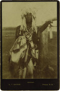 Western Expansion:Indian Artifacts, Cabinet Card Photograph- Sioux Warrior, ca. 1890s....