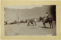 "Western Expansion:Cowboy, Imperial Size Cabinet Card Photograph ""Cowboys Working Cows"" ca1880s. ..."