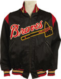 Baseball Collectibles:Uniforms, Early 1950's Milwaukee Braves Game Worn Jacket Attributed to Rookie Hank Aaron. In an age when the average Major League sal...