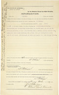 Western Expansion:Cowboy, Court Document Intent to Kill and Murder Wyoming 1897 - ...
