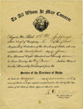 """Military & Patriotic:Indian Wars, """"Nez Perce Indian Wars Discharge"""" from the Idaho Territory. ..."""