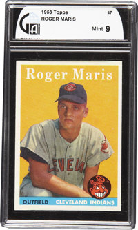 1958 Topps Roger Maris #47 GAI Mint 9. This beautiful example of Roger Maris' rookie card features the same bold orange...