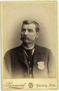 "Photography:Cabinet Photos, Cabinet Card Photograph Of ""Policeman"" with Badge Quincy, Illinoisca 1890s...."