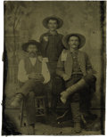 "Photography:Tintypes, Sixth Plate Tintype of Three Men, One Holding ""Large Size Currency"" ca 1870s. ..."