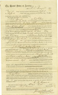 Western Expansion:Indian Artifacts, Document Signed for Services as Posse Member, Cherokee Nation,Indian Territory, 1874. ...