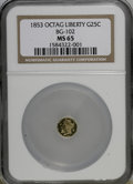 California Fractional Gold, 1853 25C Liberty Octagonal 25 Cents, BG-102, Low R.4, MS65 NGC....
