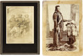 Western Expansion:Indian Artifacts, Two Photographs of Armed Nez Perce/Umatilla Indians, ca. 1880-1890.... (Total: 2 Items)