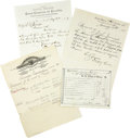 Western Expansion:Cowboy, Lot of Four Arizona Territory Documents, ca. 1870s-1880s....(Total: 4 Items)