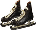 Hockey Collectibles:Others, Gordie Howe Signed Skates. A dominating force from his first NHL season, Gordie Howe used his tremendous size and hocky int...