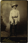 Western Expansion:Cowboy, Cabinet Card Photograph of an Armed Wild West Performer, ca.1890s....