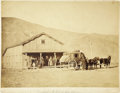 Western Expansion:Cowboy, Fantastic Imperial Size Photograph of Echo City, Utah TerritoryStagecoach and Stop, ca. 1869. ...