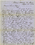 Western Expansion:Indian Artifacts, Autograph Letter Signed regarding the Henry Lott Massacre in Homer, Iowa, 1854....