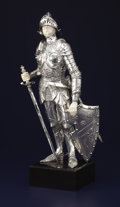 Silver Holloware, Continental:Holloware, A GERMAN SILVER AND IVORY FIGURE OF A KNIGHT . Unknown maker, circa1940. Marks: STERLING, GERMANY, 925. 21-1/2 inches h...