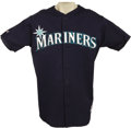 Baseball Collectibles:Uniforms, Circa 1998 Alex Rodriguez Game Worn Batting Practice Jersey. Navymesh Seattle Mariners jersey shows fine pregame wear from...