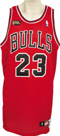 Basketball Collectibles:Uniforms, 1997-98 Michael Jordan NBA Finals Game Worn Jersey. It all endedwith a fade-away jumper in Game Six of the NBA Finals, perh...