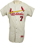 Baseball Collectibles:Uniforms, 1963 St. Louis Cardinals Game Jersey. The birds and bat logo that establishes St. Louis Cardinals jerseys as arguably the m...