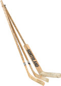 Hockey Collectibles:Others, 1976-79 Winnipeg Jets Team Signed and Avco Cup Finals Game Used Sticks Lot of 3. Here we present a fabulous collection th...