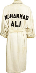 "Boxing Collectibles:Memorabilia, Mid-1970's Muhammad Ali Training Worn Robe. From the same source that provided the ""Rumble in the Jungle"" training trunks f..."