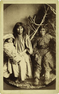 Western Expansion:Indian Artifacts, Imperial Size Photograph of Apache Women and Child in Papoose, ca.1890s....