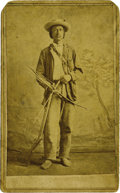 Western Expansion:Indian Artifacts, CDV Photograph of an Indian with Percussion Rifle and Bow & Arrow Set, ca. 1880s. ...
