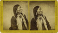 "Western Expansion:Indian Artifacts, Large Format Stereoview of Ute Chief ""Captain Jack"", ThornburgMassacre, ca. 1870s.. ..."