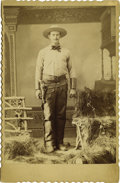 Western Expansion:Cowboy, Cabinet Card Photograph of Fully Dressed and Armed Wild WestCowboy, ca. 1880s....