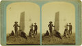 Western Expansion:Indian Artifacts, Stereoview of Custer Monument with Curley, Custer's Scout, ca.1885. ...
