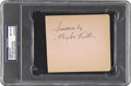 Autographs:Others, 1930's Babe Ruth Signed Album Page, PSA NM-MT 8. While legends ofthe Babe's home run promise to a hospital bedridden Johnn...