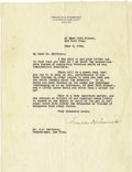 Autographs:U.S. Presidents, Franklin D. Roosevelt: Typed Letter Signed....