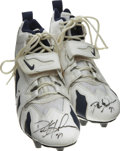Football Collectibles:Uniforms, Deion Sanders Game Worn and Signed Cleats. Each of this Pair of Nike Premier football cleats has been signed on the toe by...