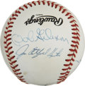 Autographs:Baseballs, Hall of Fame Pitchers Multi-Signed Baseball. Four enshrined hurlershave placed top-quality signatures to the ONL (White) or...