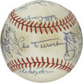 Autographs:Baseballs, 1987 Dodgers 25th Anniversary Old Timers Game Multi-SignedBaseball. The 25th Anniversary Old Timers Game featured many fam...