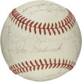 Autographs:Baseballs, 1972 Old Timers Signed Baseball with DiMaggio. The ONL (Feeney)baseball is graced with the signatures of nineteen players ...
